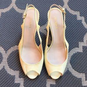 Prada Cream Peep-toe Shoes